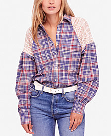 Free People Fireside Mixed-Media Blouse
