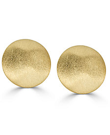 Textured Button Stud Earrings in 14k Gold