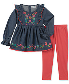 Kids Headquarters Little Girls 2-Pc. Embroidered Cotton Tunic & Leggings Set