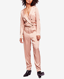 Free People I Am A Woman Plunging Satin Jumpsuit
