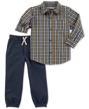 Kids Headquarters Little Boys 2Pc Plaid Shirt  Jogger Pants Set