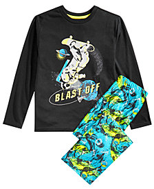 Max & Olivia Little & Big Boys 2-Pc. Blast Off Glow-In-The-Dark Pajama Set