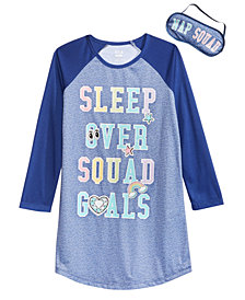 Max & Olivia Little & Big Girls Sleepover Goals Graphic Nightgown & Eye Shade
