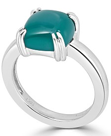 Green Agate Curved Claw Ring in Sterling Silver
