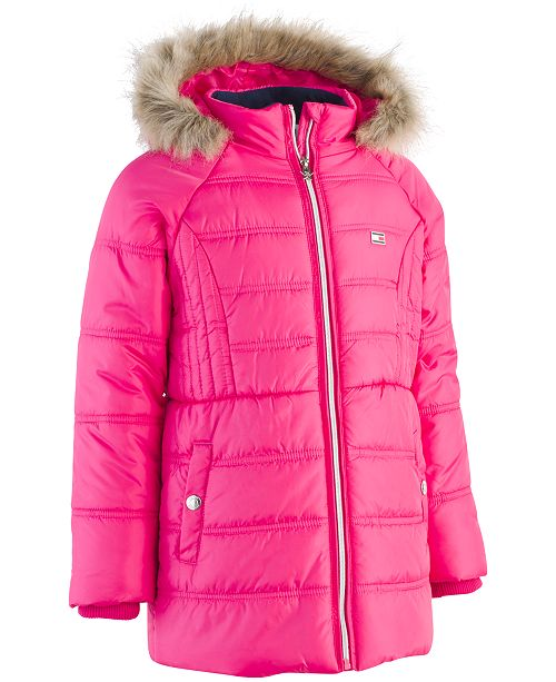 8e91d831 Tommy Hilfiger Big Girls Hooded Puffer Jacket with Faux-Fur Trim ...