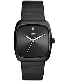 Fossil Men's Rutherford Carbon Series Diamond-Accent Black Stainless Steel Bracelet Watch 38x44mm