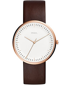 Fossil Men's Essentialist Brown Leather Strap Watch 42mm