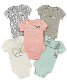 Calvin Klein Baby Girls 5-Pk. Graphic-Print Bodysuits