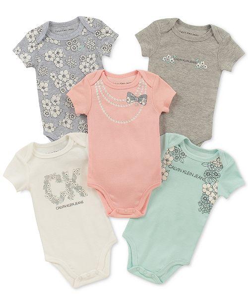 6895881b0 Calvin Klein Baby Girls 5-Pk. Graphic-Print Bodysuits & Reviews ...