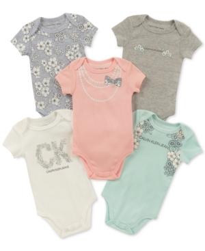 Calvin Klein Baby Girls 5Pk GraphicPrint Bodysuits
