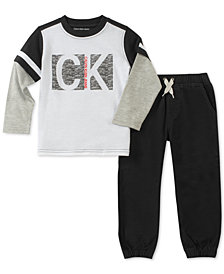 Calvin Klein 2-Pc. Graphic-Print Top & Jogger Pants Set