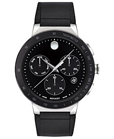 Mens Sapphire Chronograph Black Rubber Strap Watch 43mm
