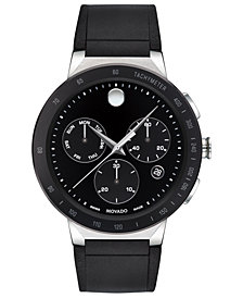 Movado Mens Sapphire Chronograph Black Rubber Strap Watch 43mm