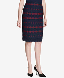 Calvin Klein Lace Scuba Pencil Skirt