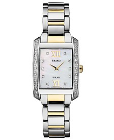 Seiko Women's Solar Diamond Collection Diamond-Accent Two-Tone Stainless Steel Bracelet Watch 24mm