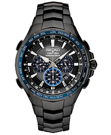 Seiko Men's Radio Sync Solar Chronograph Coutura Black Stainless Steel Bracelet Watch 44.5mm