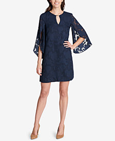 kensie Floral Split-Sleeve Shift Dress