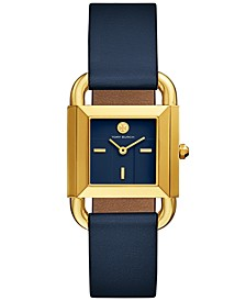 Women's Phipps Navy Blue Leather Strap Watch 29x42mm