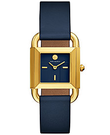 Tory Burch Women's Phipps Navy Blue Leather Strap Watch 29x42mm