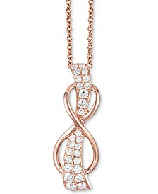 "White Diamond Infinity 18"" Pendant Necklace (1/3 ct. t.w.) in 14k Rose Gold"