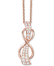 "Le Vian® White Diamond Infinity 18"" Pendant Necklace (1/3 ct. t.w.) in 14k Rose Gold"