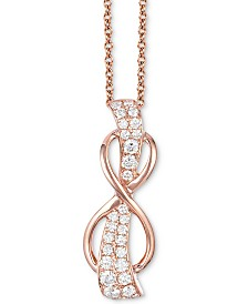 """Le Vian® White Diamond Infinity 18"""" Pendant Necklace (1/3 ct. t.w.) in 14k Rose Gold"""