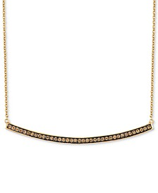 "Chocolatier® Curved Bar 16"" Pendant Necklace (1/3 ct. t.w.) in 14k Gold"