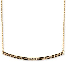 "Le Vian Chocolatier® Curved Bar 16"" Pendant Necklace (1/3 ct. t.w.) in 14k Gold"
