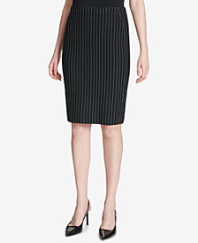 Calvin Klein Pinstriped Pencil Skirt