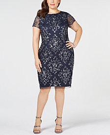 Adrianna Papell Plus Size Embellished Sheath Dress