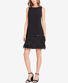 Tahari Embellished Feather-Hem Sheath Dress