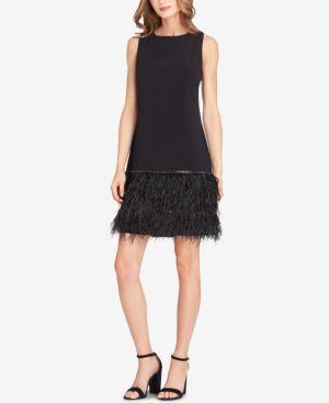 Embellished Feather-Hem Sheath Dress, Black