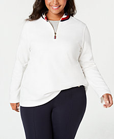 Tommy Hilfiger Plus Size Quarter-Neck Mock-Neck Top, Created for Macy's