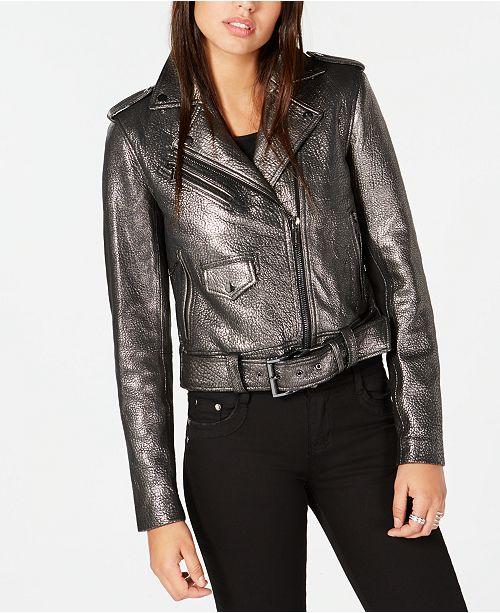 93bf0adbe4f2 Michael Kors Metallic Leather Moto Jacket   Reviews - Jackets ...