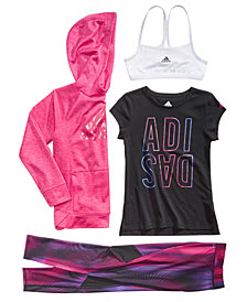 adidas Big Girls Hoodie, Logo-Print T-Shirt, Sports Bra & Printed Leggings