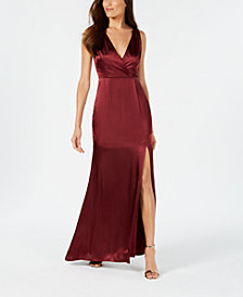 Adrianna Papell V-Neck Satin Slit Gown