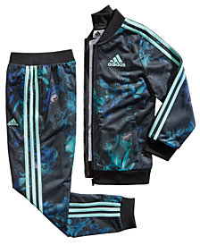 adidas Big Girls Floral Glow-Print Tricot Jacket & Jogger Pants