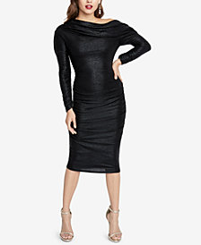 RACHEL Rachel Roy Metallic Ruched Sheath Dress