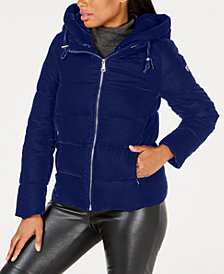 Calvin Klein Hooded Velvet Puffer Coat