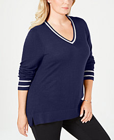 Charter Club Plus Size Metallic Varsity-Stripe Sweater, Created for Macy's