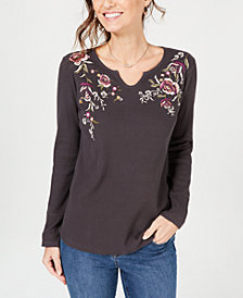 Style & Co Cotton Embroidered Thermal Top, Created for Macy's