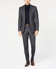 Calvin Klein Men's Slim-Fit Stretch Charcoal/Blue Plaid Suit