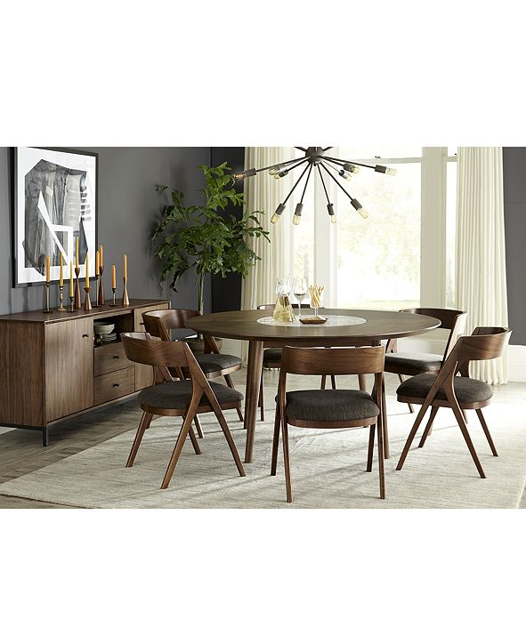 Furniture Oslo Dining Furniture, 7-Pc. Set (Lazy Susan Table & 6 Side Chairs), Created for Macy's