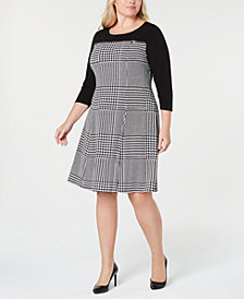 Calvin Klein Plus Size Houndstooth-Print A-Line Dress
