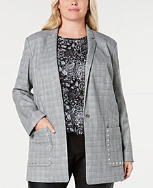 MICHAEL Michael Kors Plus Size Plaid Studded Boyfriend Blazer