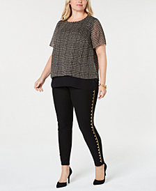 MICHAEL Michael Kors Plus Size Lurex Top & Studded Leggings