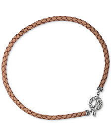 American West Braided Leather Collar Necklace in Sterling Silver