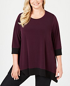Plus Size Colorblocked Handkerchief-Hem Tunic