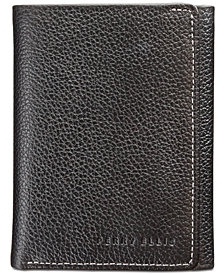 Perry Ellis Men's Leather Tri-Fold Wallet & Corkscrew Keychain