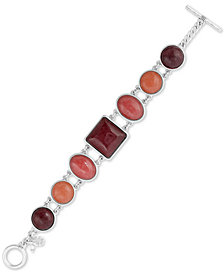 Lucky Brand Silver-Tone Stone Link Bracelet